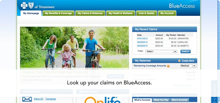 Look up your claims on BlueAccess.